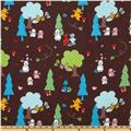 Camelot Flannel Forest Animals Brown