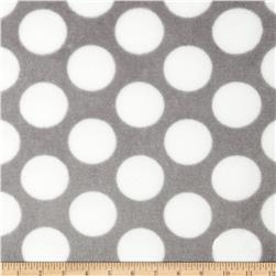 Plush Coral Fleece Polka Dot Grey/White Fabric