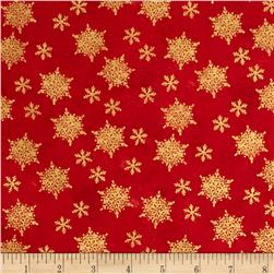 Holiday Traditions Metallic Snowflakes Red
