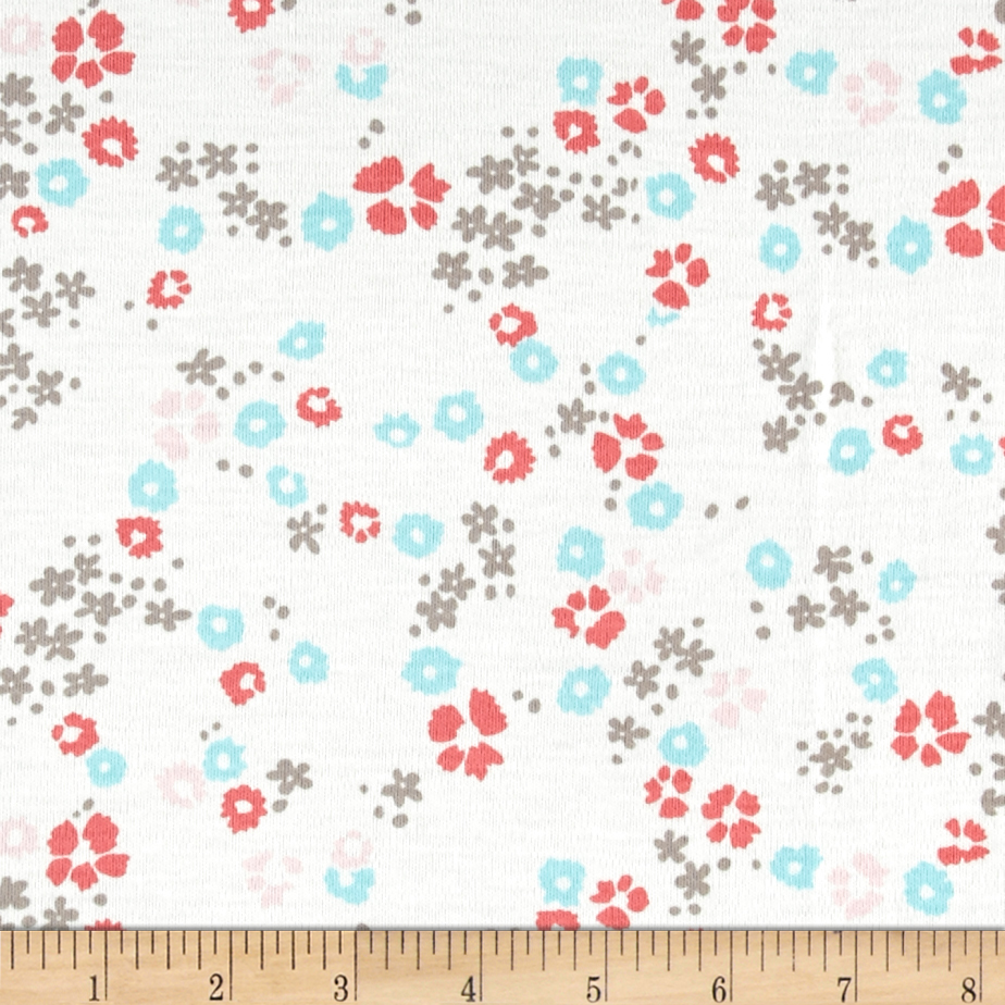 Cloud 9 Organics Scattered Floral Interlock Knit White Fabric by Cloud 9 in USA