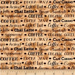 Coffee House Coffee Words Light Brown