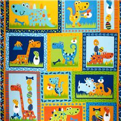 Dino Pals Flannel 36'' Panel Blue/Multi Fabric