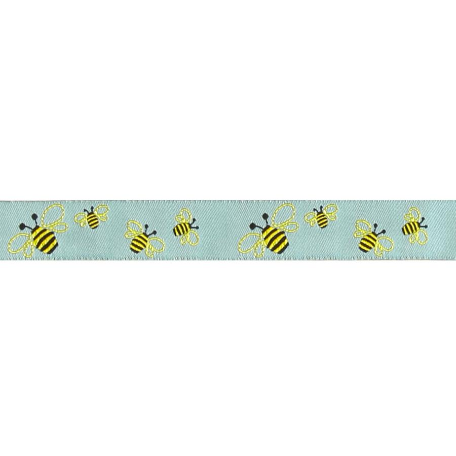 "7/8"" Sue Spargo Bees Ribbon Aqua"
