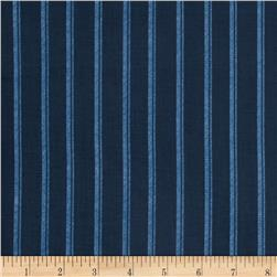 Normandy Court Ticking Stripe Navy/Blue Fabric