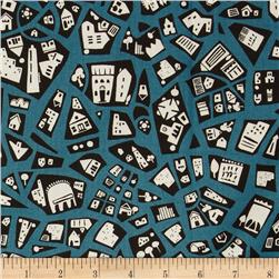 City Scene Retro Patchwork Teal Fabric
