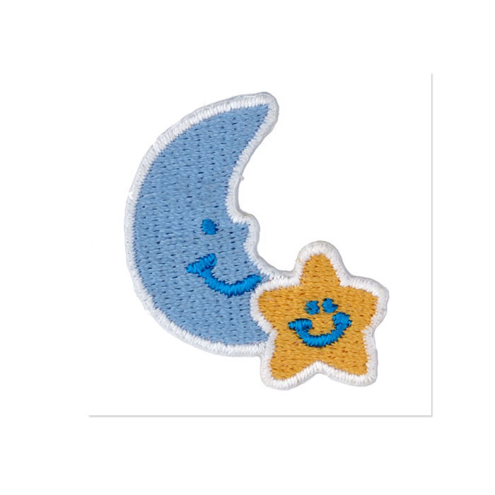 Boutique Applique Moon & Star Blue/Yellow