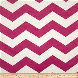 Minky Chevron Hot Pink/White Fabric