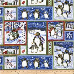 Winter Wonderland Metallic Penguin Block Print Blue