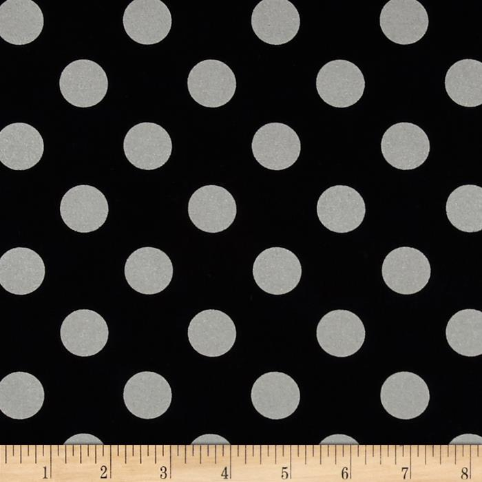 Michael Miller Glitz Metallic Quarter Dot Pearlized Black-Silver