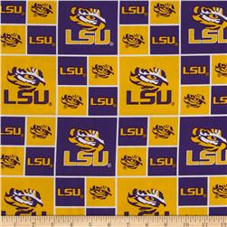 Collegiate Cotton Broadcloth Louisiana State University Fabric