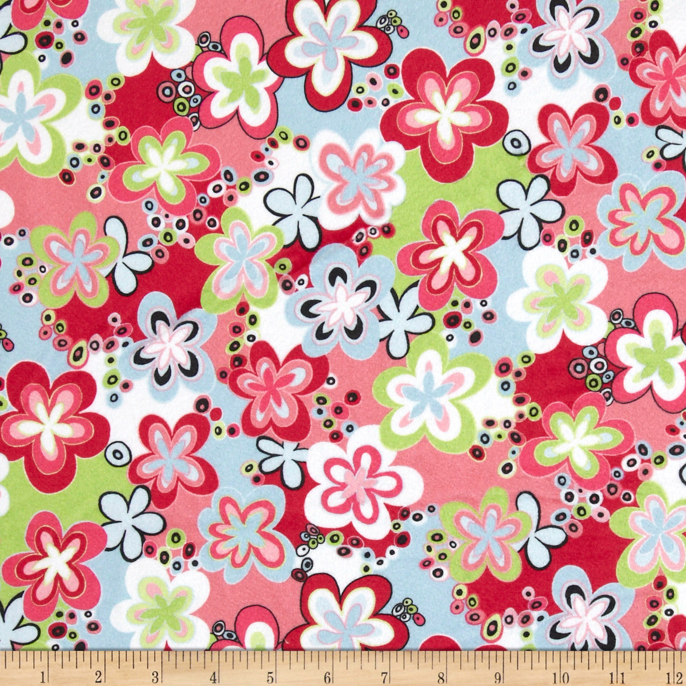 Minky Happy Talk Pink/Lime Fabric by E.Z Fabric in USA