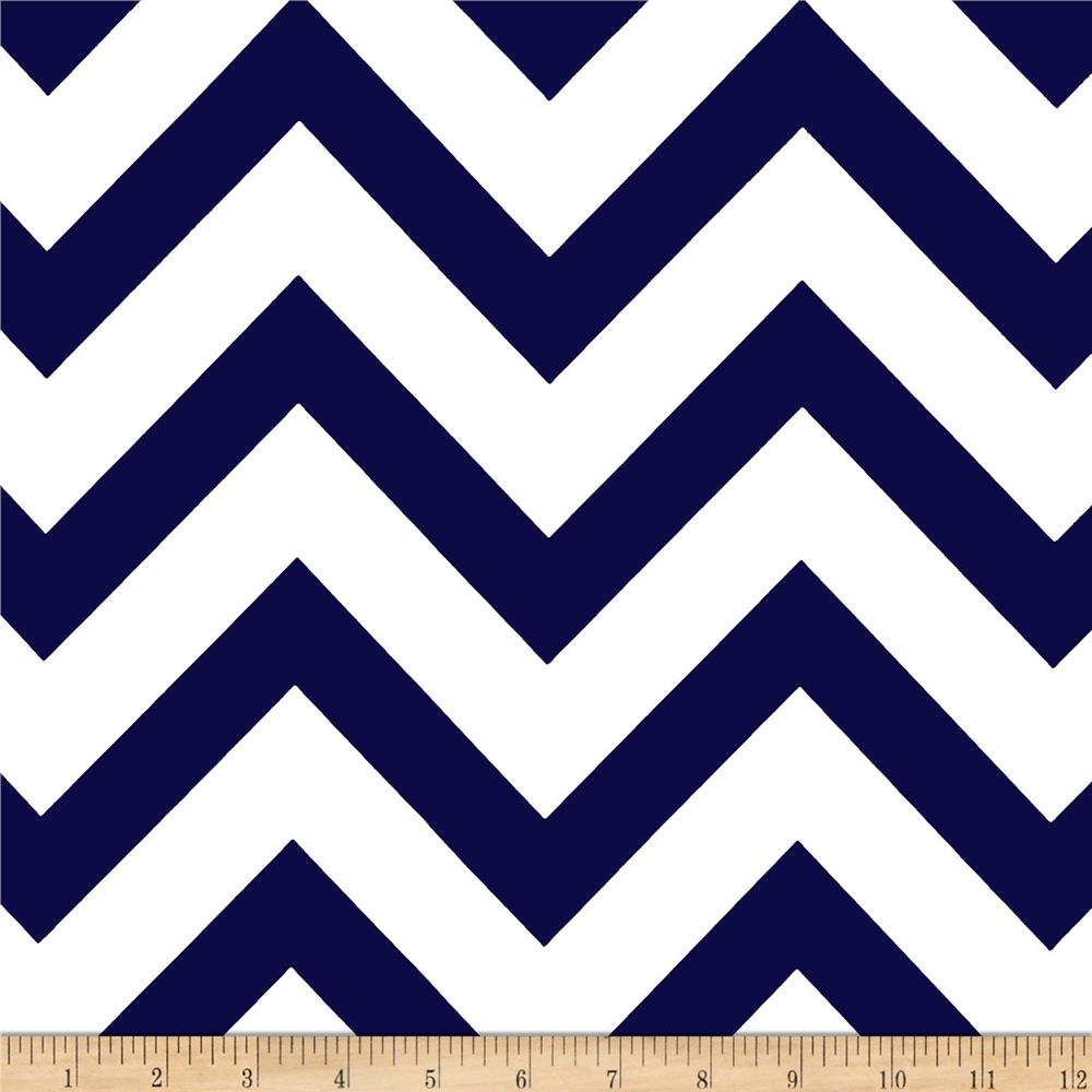 Mi Amor Duchess Satin Chevron Navy/White