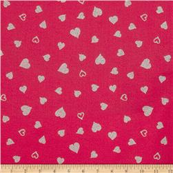 "Fanci Felt 36"" x By the Yard Glitter Heart Shocking Pink"