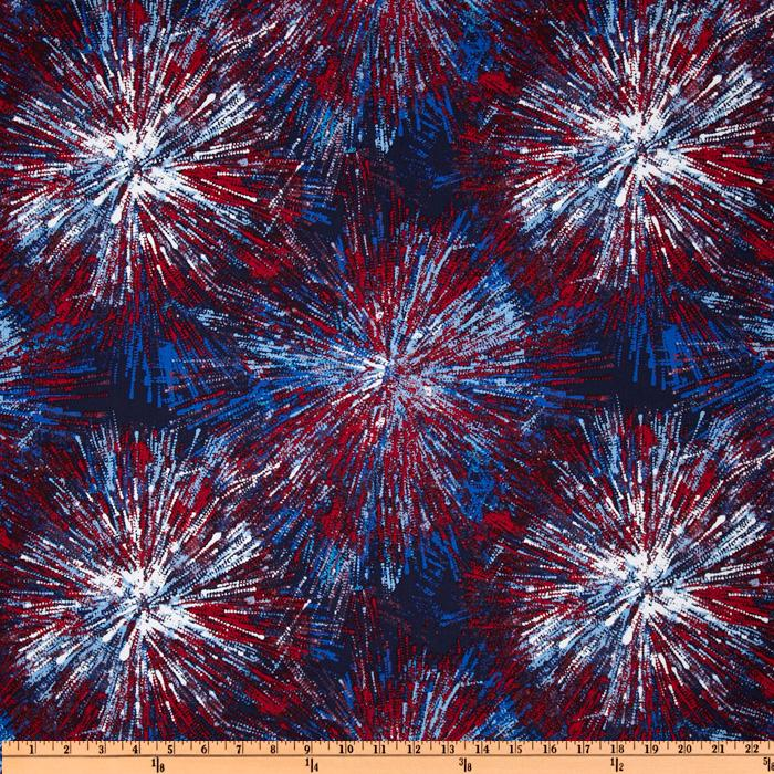 Timeless Treasures Patriotic Fireworks Blue