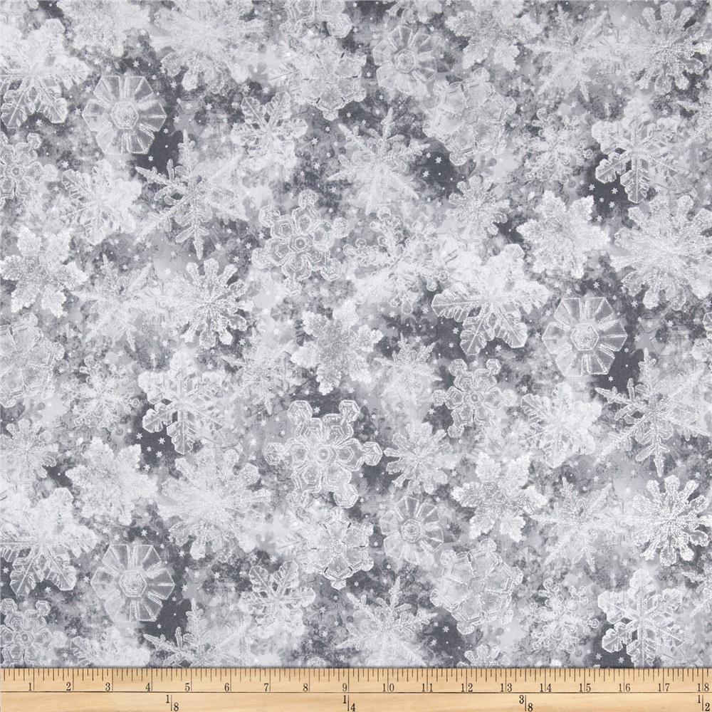 Holiday Accents Classics 2014 Snowflakes Metallic Grey
