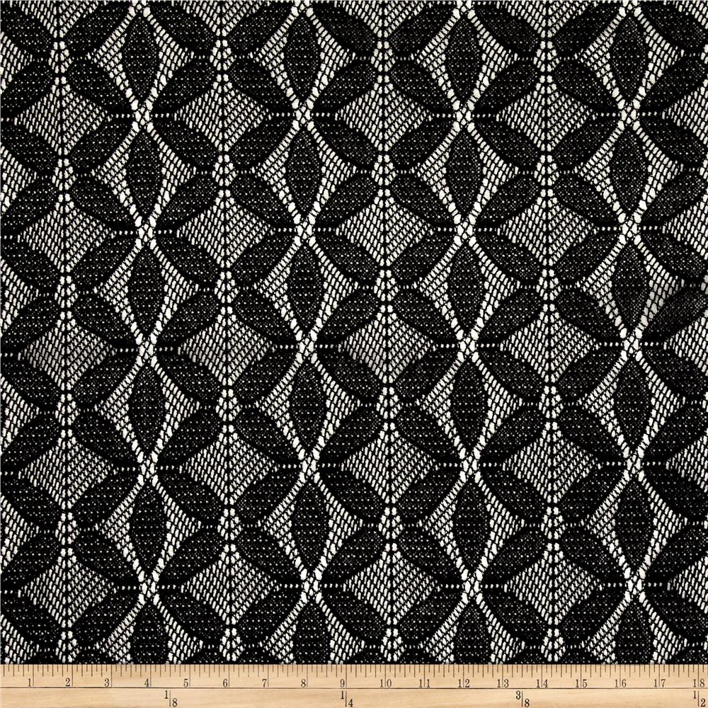 Bohemian Lace Abstract Black Fabric