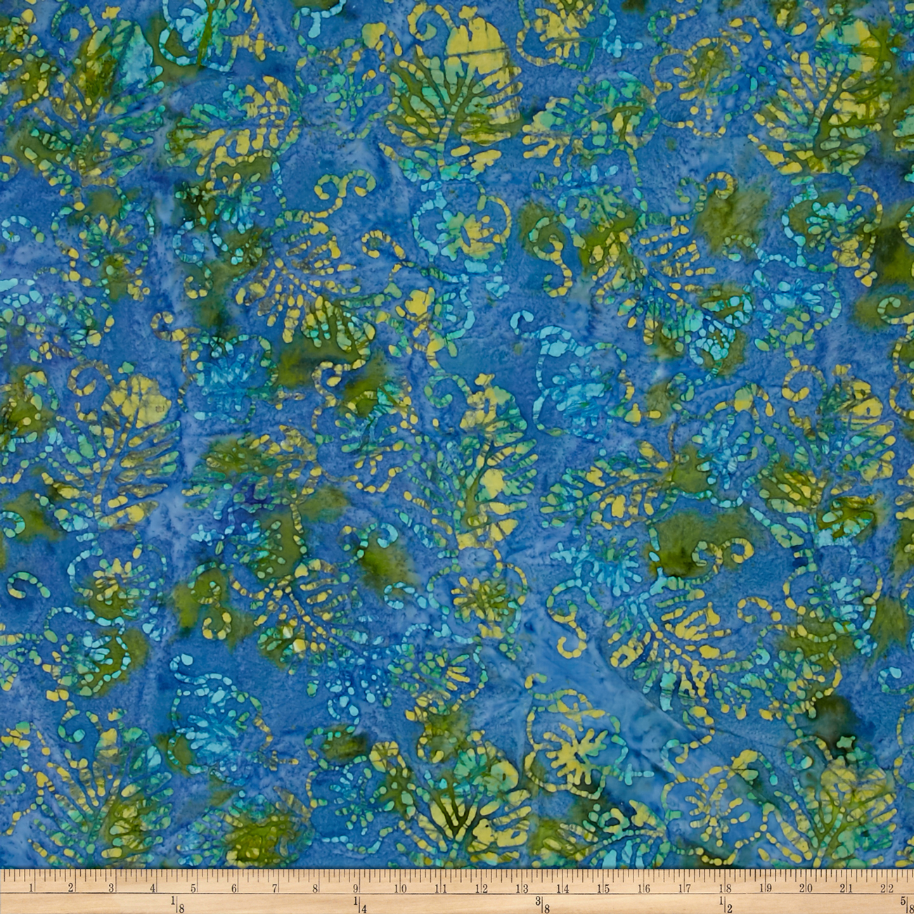 Indian Batik Jewel Box Leaf Blue/Green Fabric by Textile Creations in USA