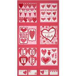 Moda Surrounded By Love Panel Passion Pink