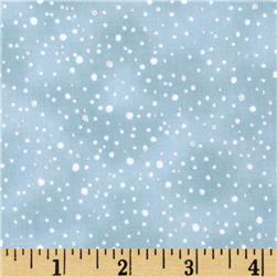 Woodsy Winter Metallic Snow Dots Aqua/Silver