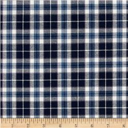Robert Kaufman Indigo Plaid Shirting White