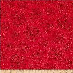 Joy To The World Metallic Poinsettia Toile Red