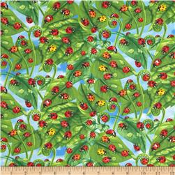 Timeless Treasures Ladybugs on Leaves Green