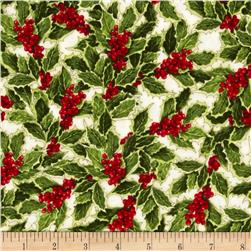 Holly Jolly Christmas Holly Holiday Fabric
