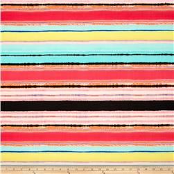 Rayon Voile Stripes Pink/Multi