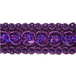 7/8'' Trish Sequin Metallic Braid Trim Roll Purple