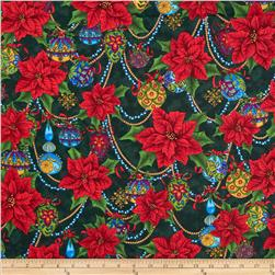 Christmas Splendor Poinsettia & Ornaments Green Fabric