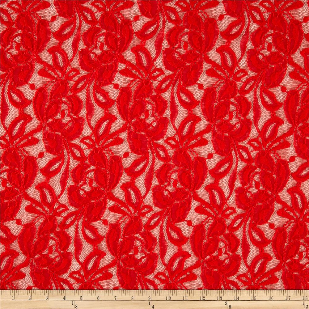 Novelty Lace Floral Coral Red