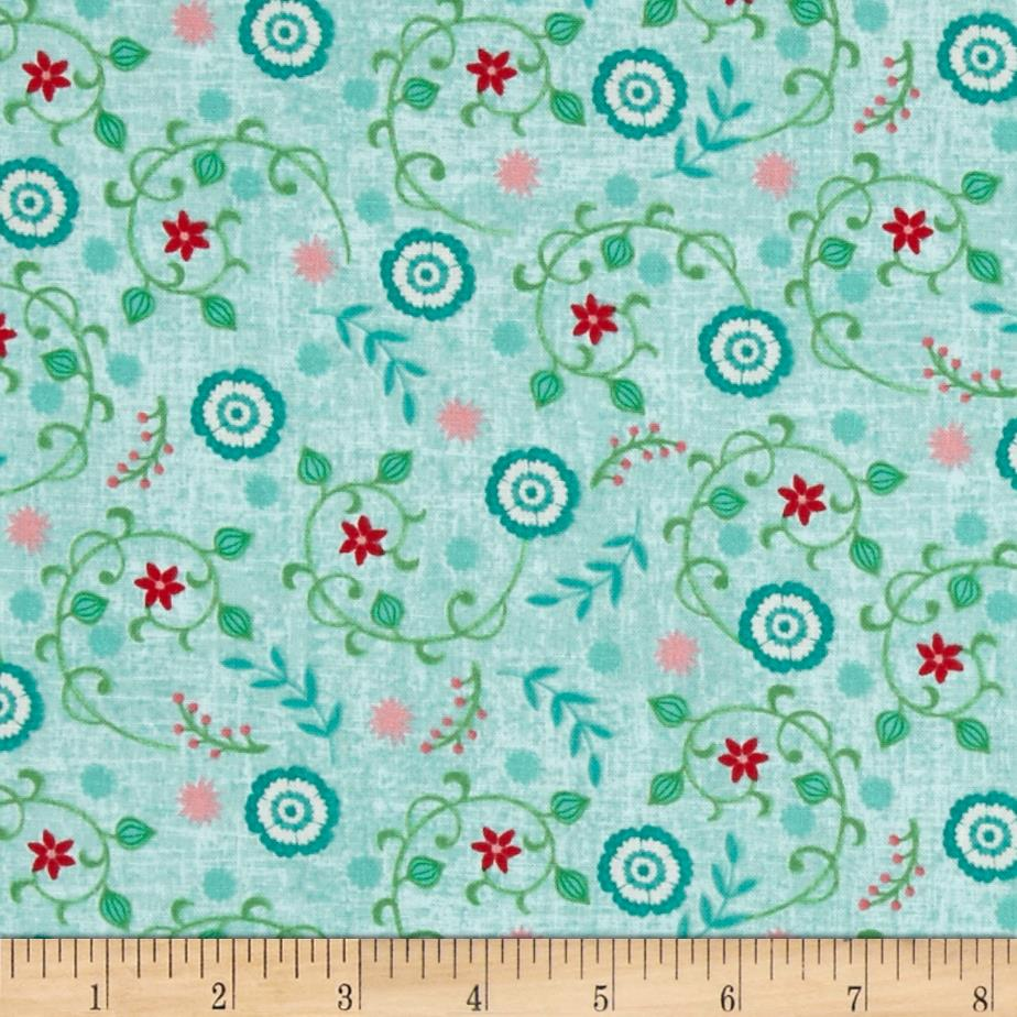 Chalkboard Snowman Small Floral Vine Teal