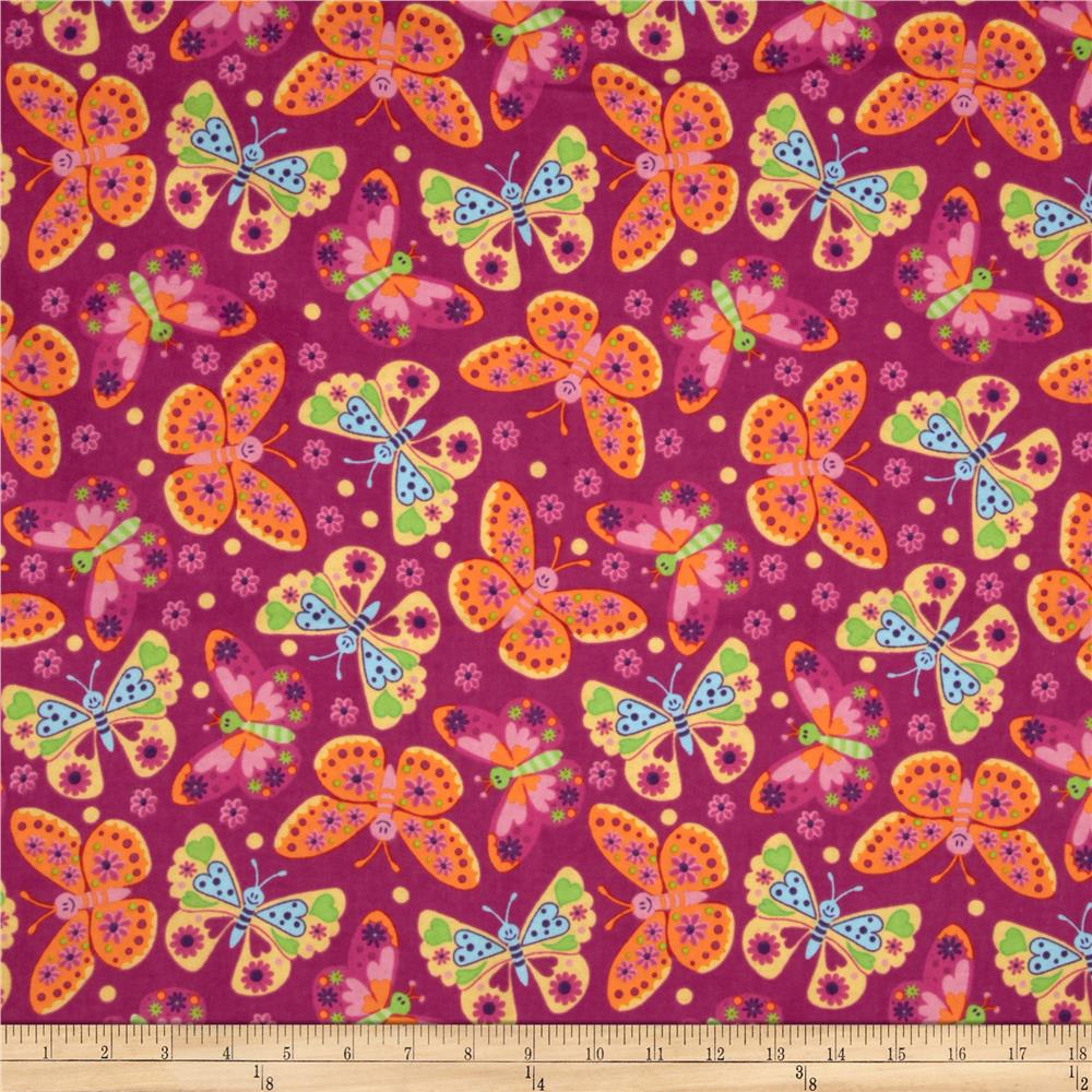 Flannel Tossed Butterflies Fuchsia