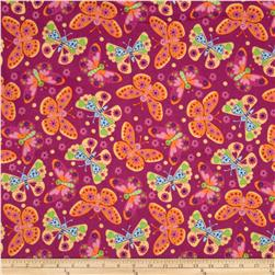 Flannel Tossed Butterflies Fuschia