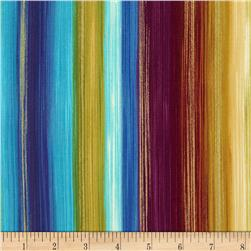 Timeless Treasures Fortuna Metallic Multi Stripe Multi