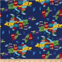 Kokka World Map Countries Royal Blue Fabric