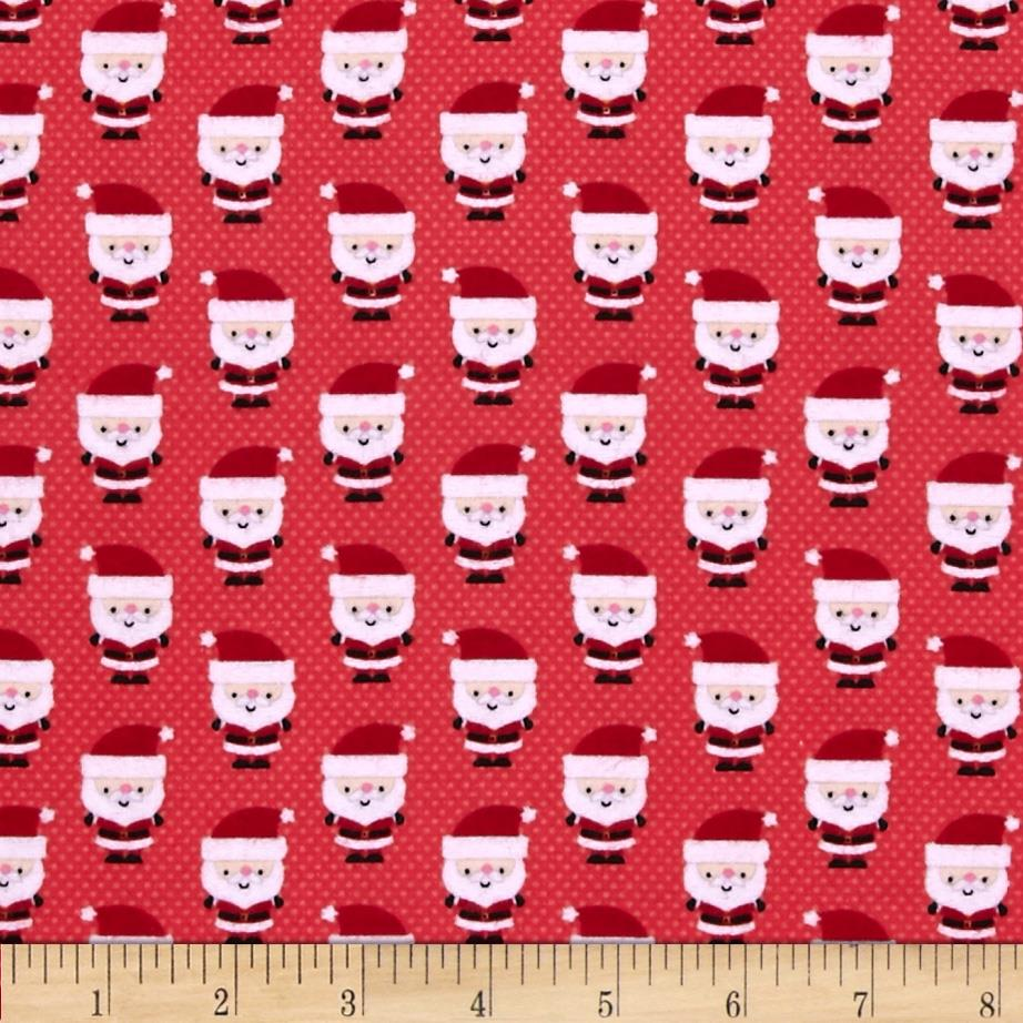 Riley Blake Santa Express Flannel Santa Claus Red