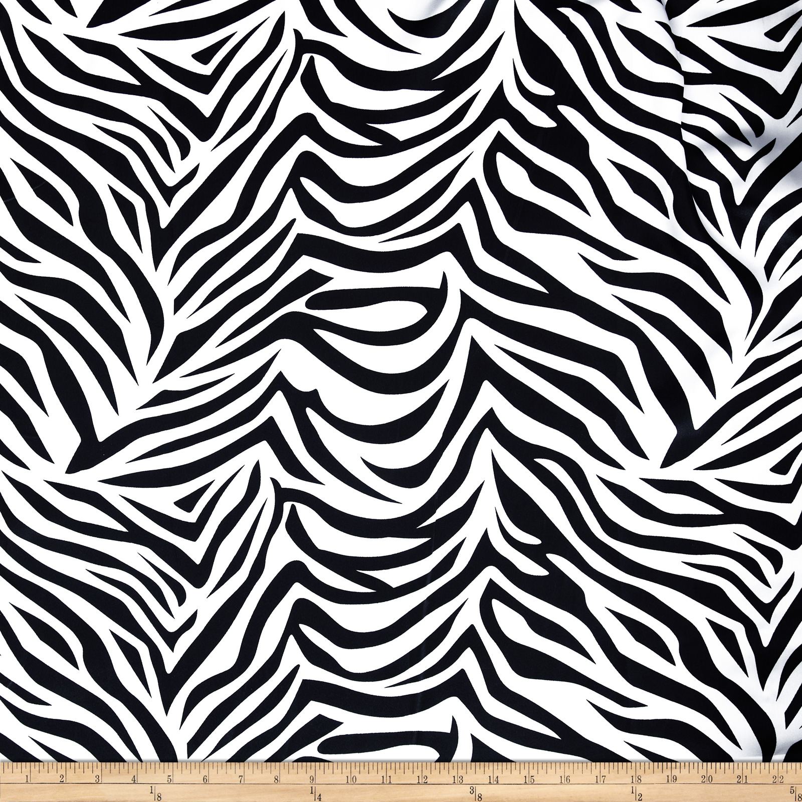 Charmeuse Satin Zebra Black/White Fabric