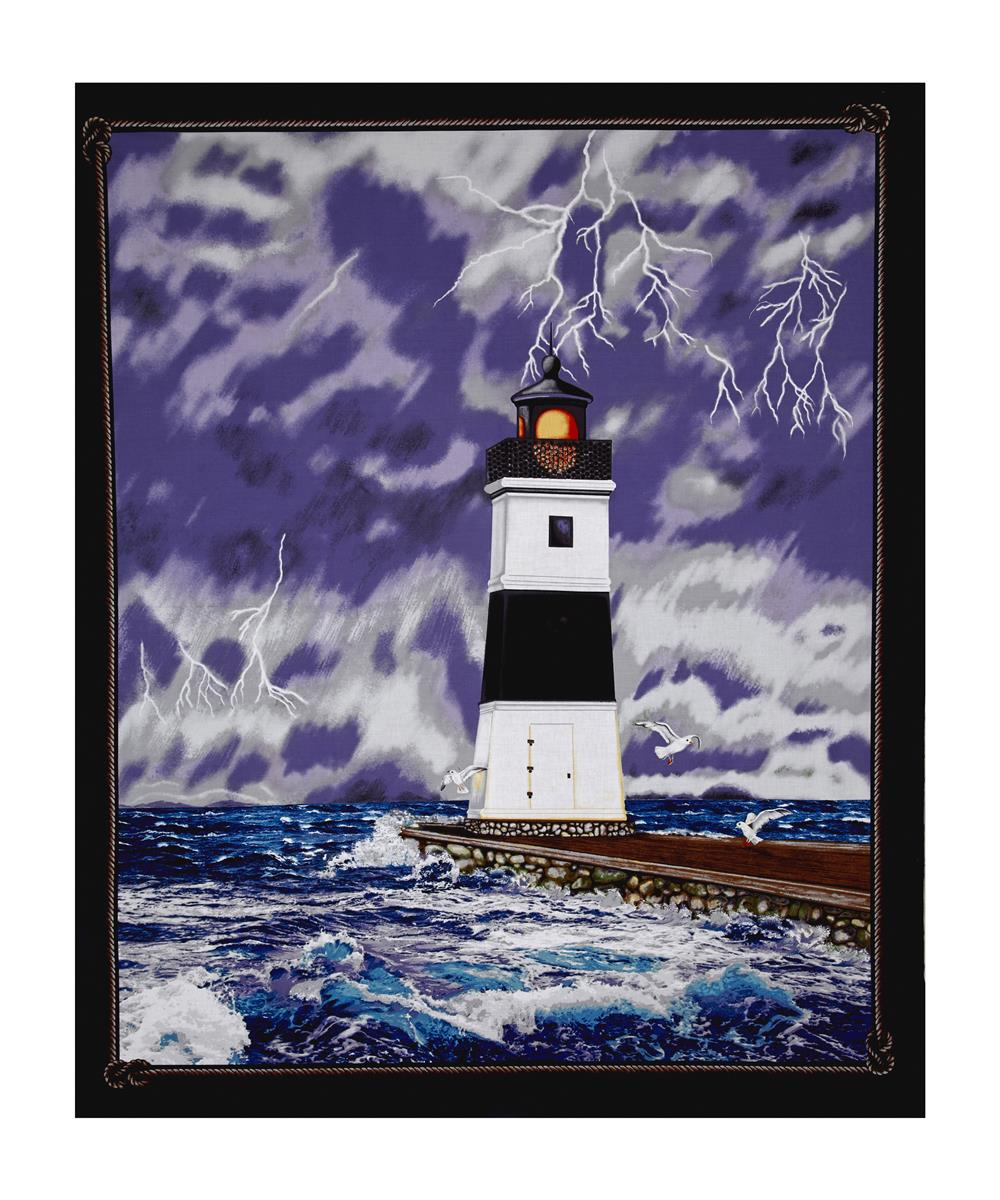 Lighthouse Wonders Stormy Lighthouse 35.5'' Panel Fabric