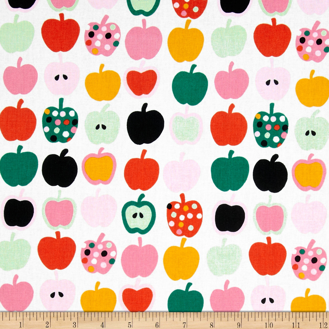 Mecca for Moderns Pippin Apples Natural/Pink Fabric