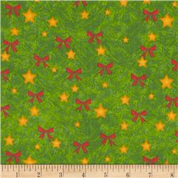 Christmas Pine, Stars, Bows Green