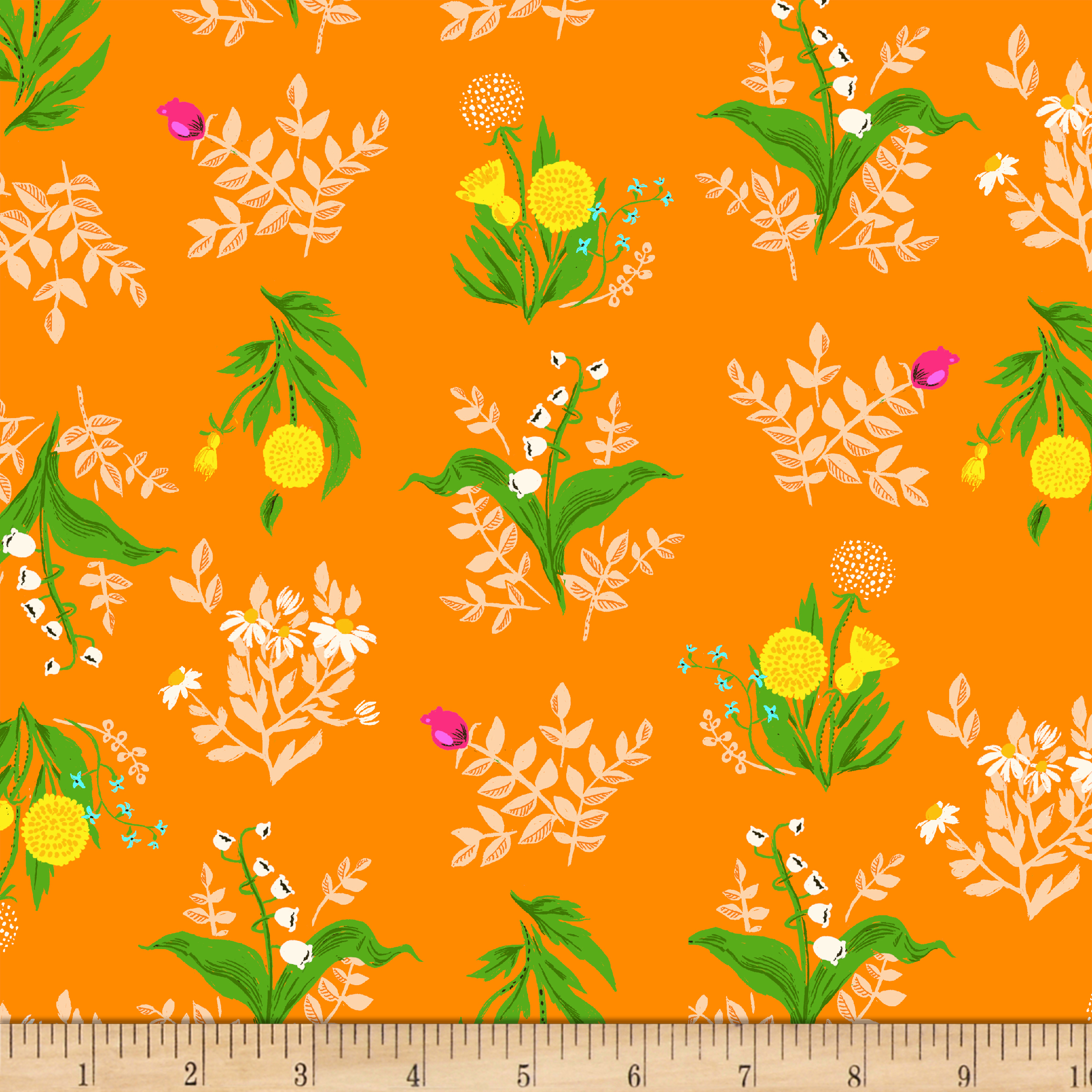 Heather Ross Sleeping Porch Lawn Bouquet Orange Fabric by Windham in USA