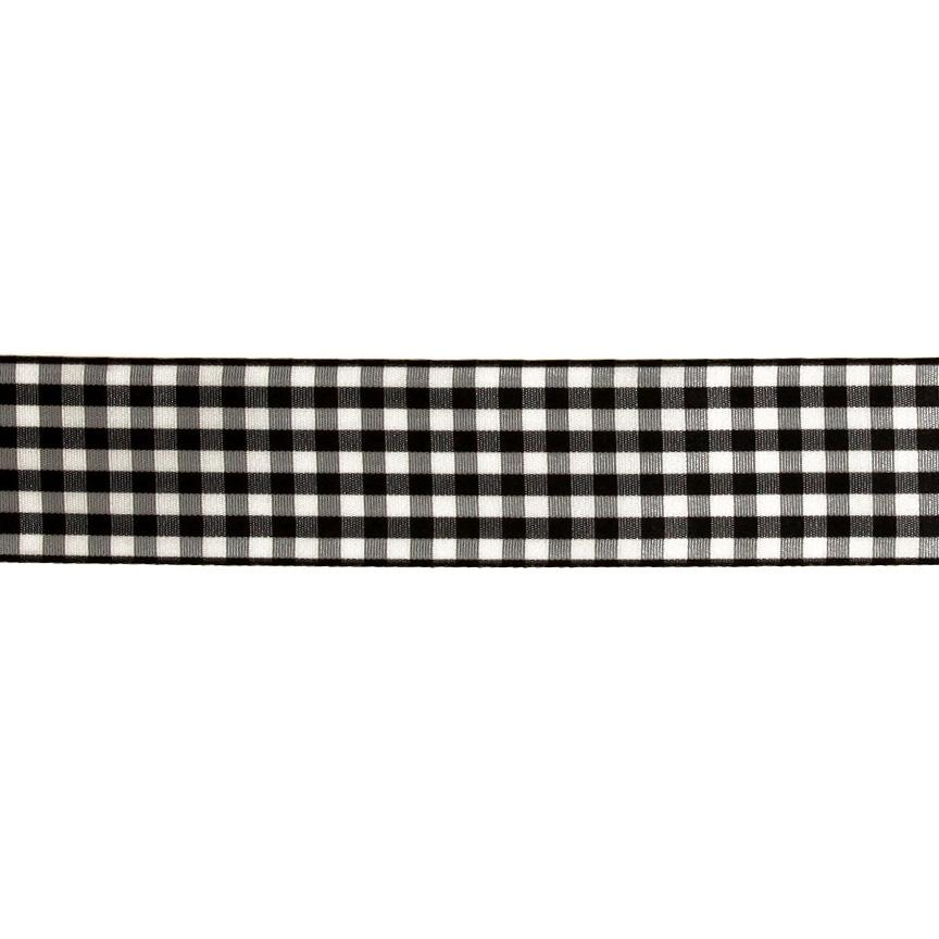 "1.5"" Gingham Ribbon Black/White"