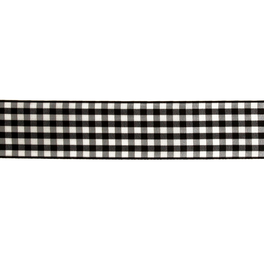 1.5'' Gingham Ribbon Black/White Fabric