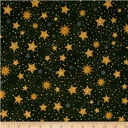 Robert Kaufman Radiant Holiday Metallic Stars Evergreen