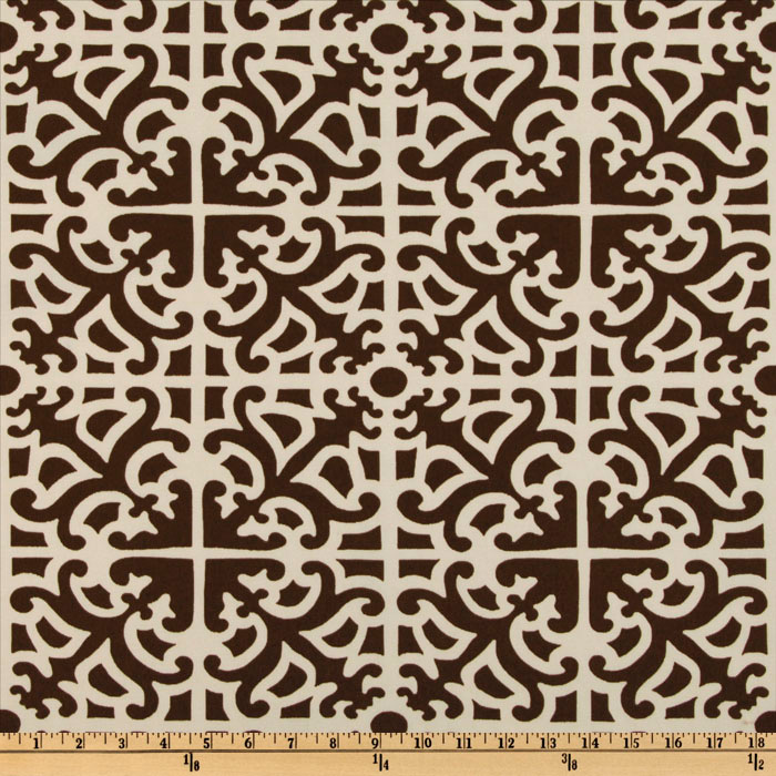 Waverly Sun N Shade Parterre Damask Chestnut Fabric