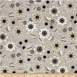 Burlap and Lace Floral Dove Grey