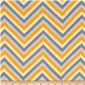 Rayon Challis Chevron Grey/Yellow