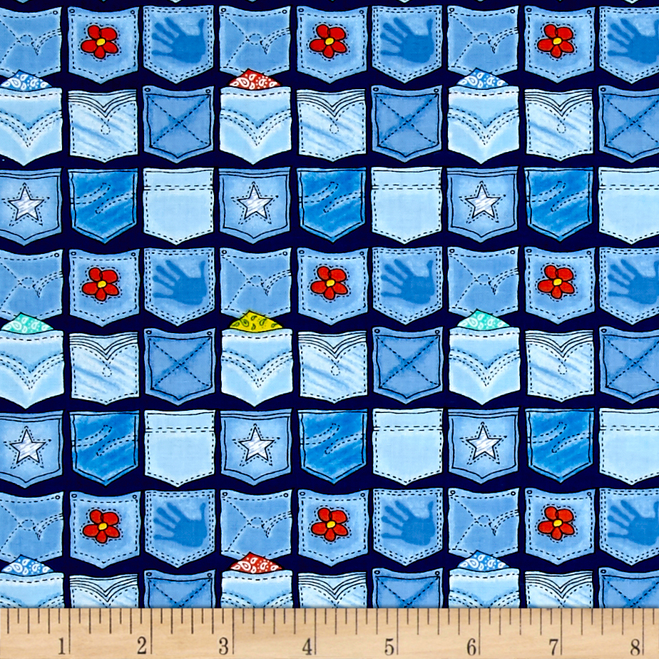 Ink & Arrow Denim Dilemma Pockets Navy Fabric by Quilting Treasures in USA