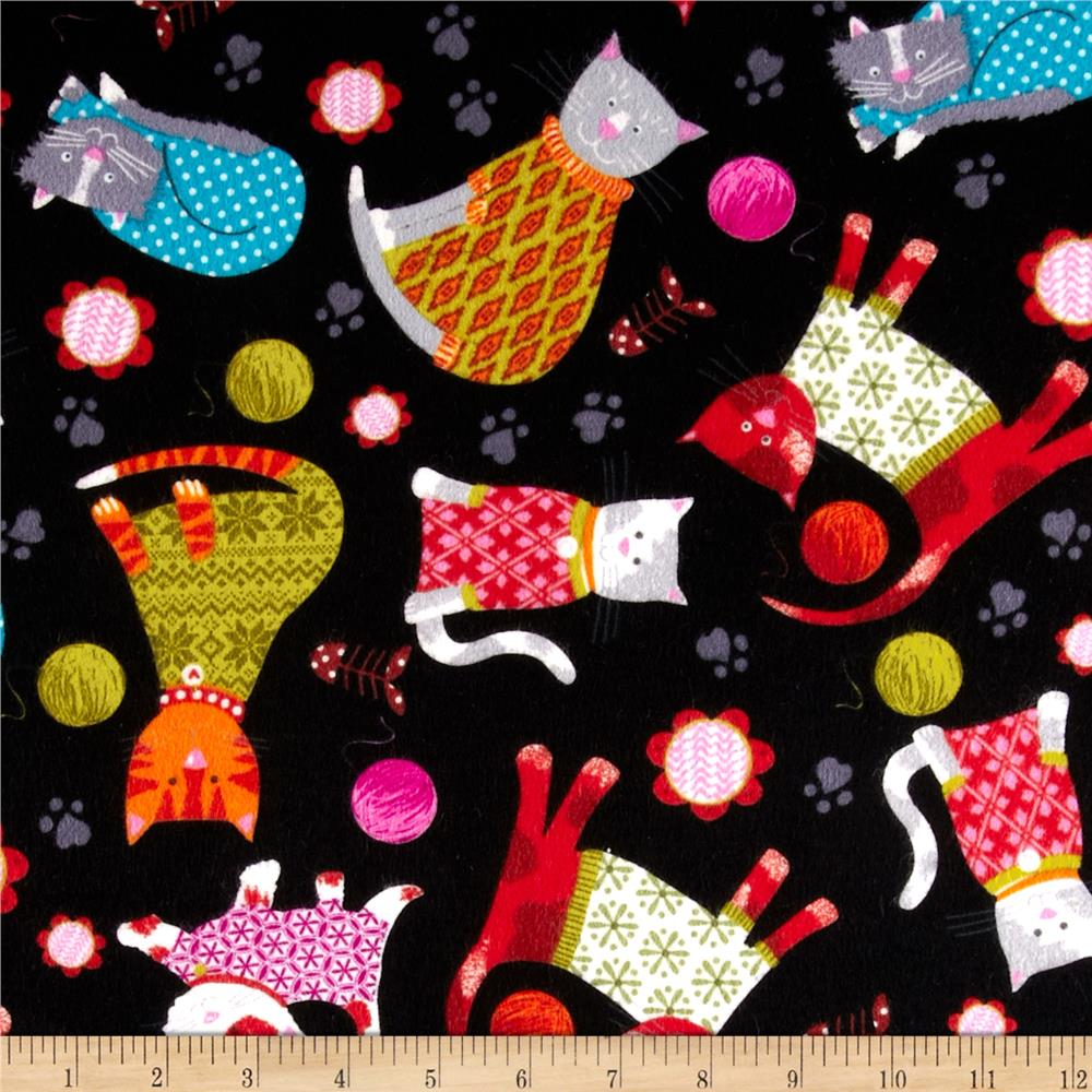 Kanvas Knitty Kitty Flannel Cozy Cats Black